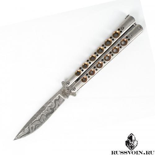 Нож-бабочка (Балисонг) Золотой Дамасск