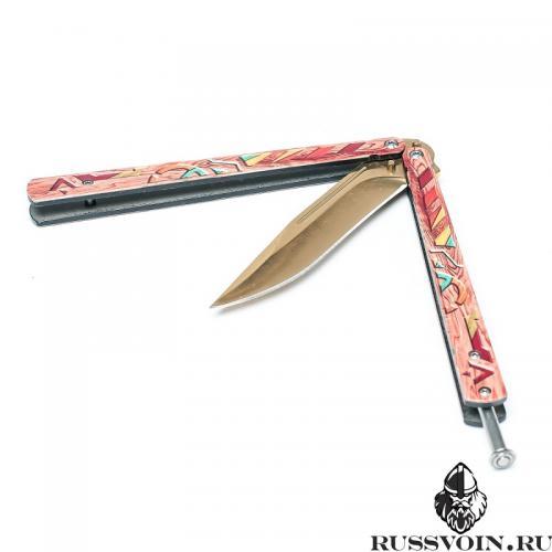 Нож-бабочка Золотой Aztec