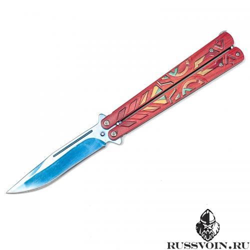 Нож-бабочка Синий Aztec