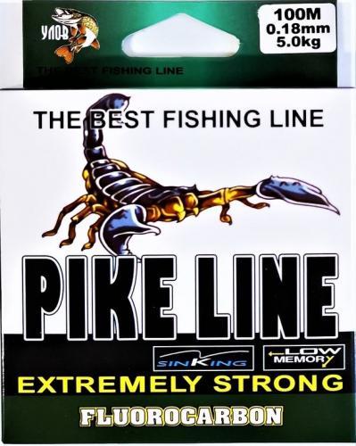 Флюрокарбоновая леска Pike Line 100м, 0,18мм